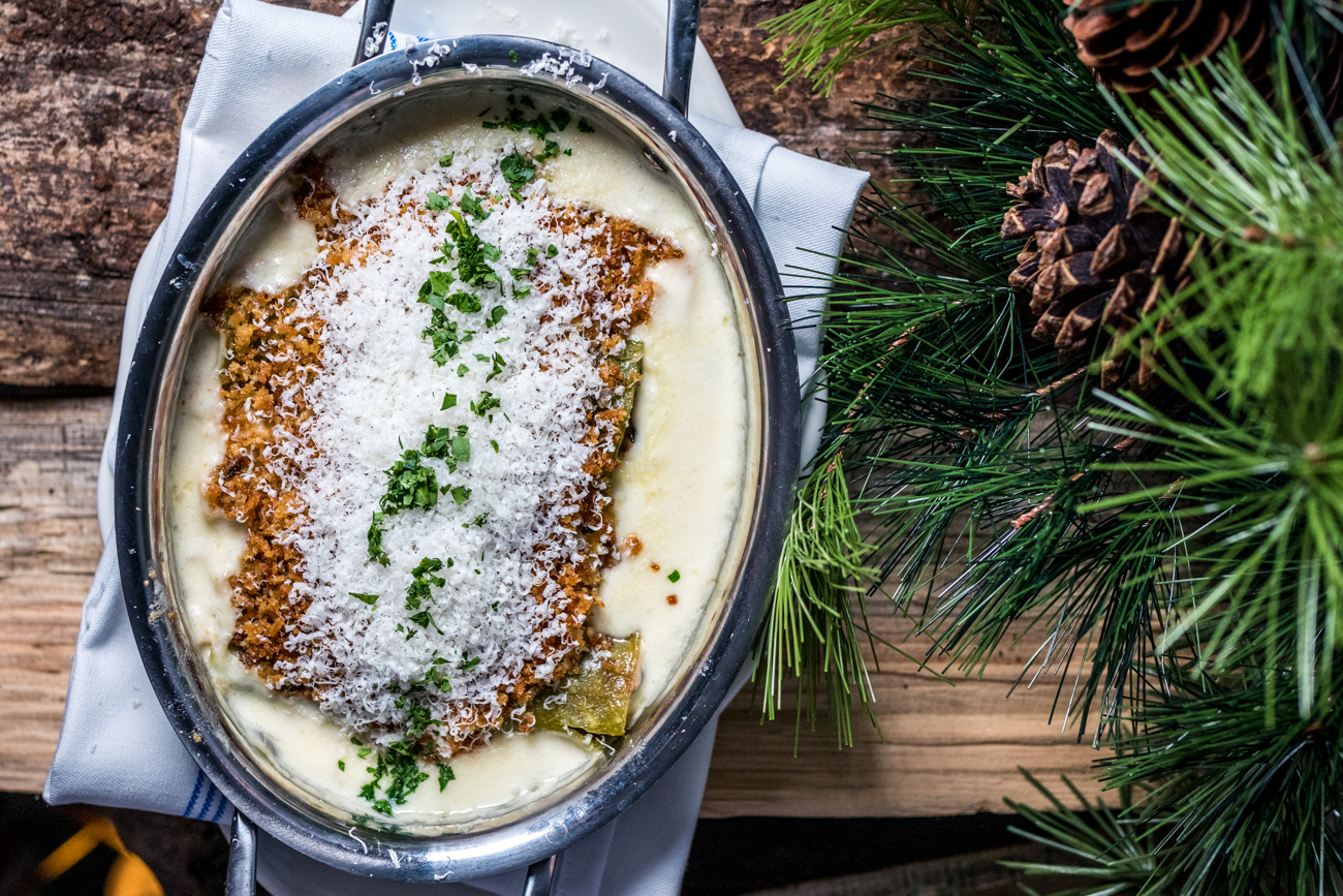 Swiss Chard & Sausage: filled cannelloni pasta, three cheese fondue, and garlic breadcrumbs / Image: Catherine Viox{ }// Published: 12.24.20