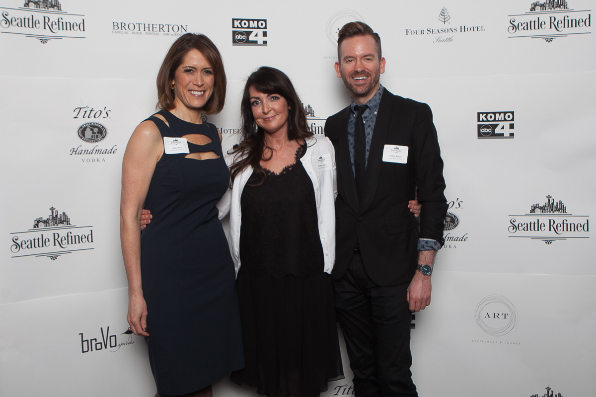 Molly Shen,  Michelle Morin and Nathan Wilson celebrate the launch of Seattle Refined (Image: Joshua Lewis / Seattle Refined)