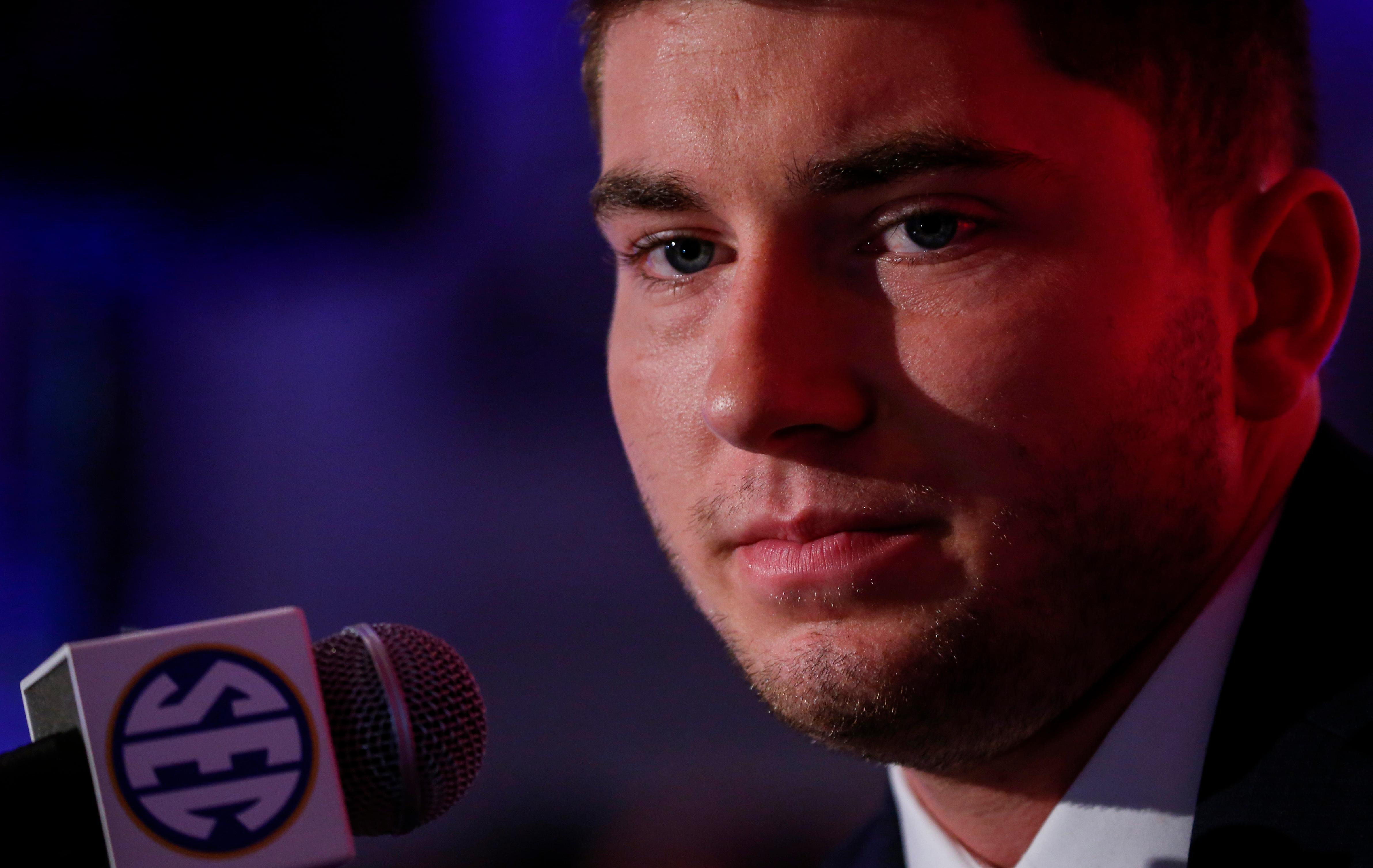 Mississippi NCAA college football player Shea Patterson speaks during the Southeastern Conference's annual media gathering, Thursday, July 13, 2017, in Hoover, Ala. (AP Photo/Butch Dill)