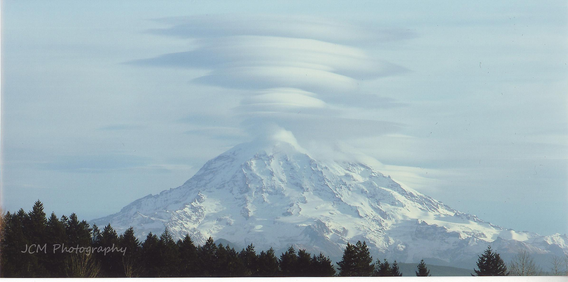 A dramatic display of lenticular clouds over Mt. Rainier on Dec. 5, 2008. (Photo courtesy: Marcy LaGagnier)