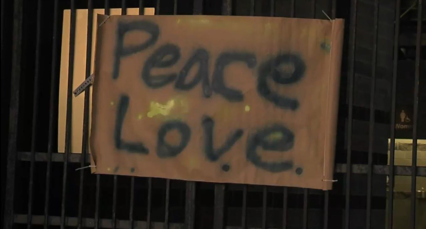 'Peace Love' sign at Steve Bannon counter rally (WCIV)