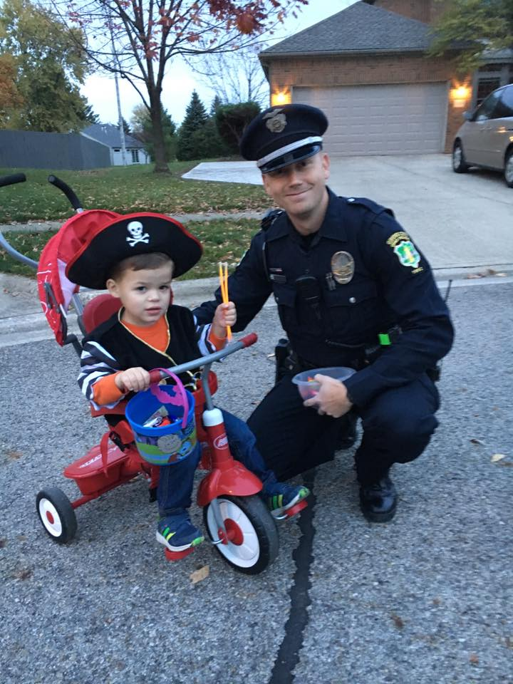 Police officer with a pirate. Submitted by Rhiannon Foster Klepper