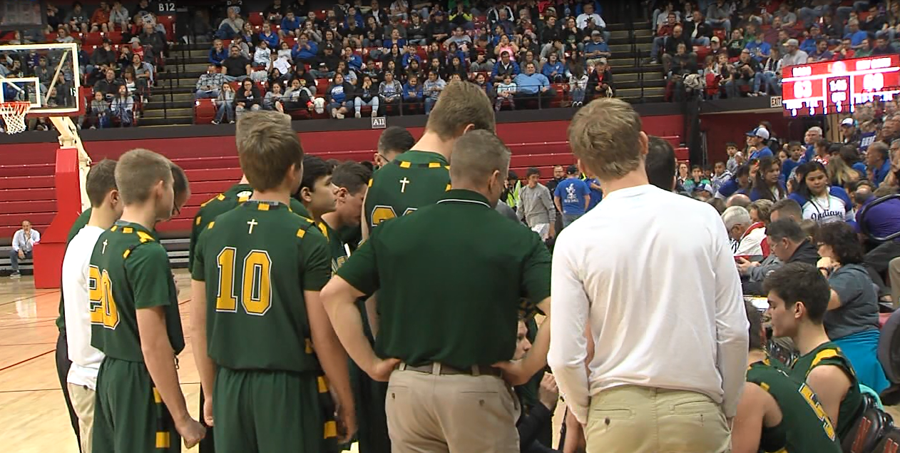 Kearney Catholic discusses ways to slow down Winnebago in the C1 quarterfinal, March 9, 2017 (NTV News)