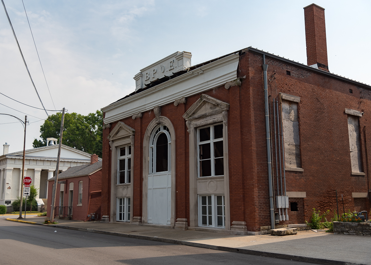 The former Madison Elks Lodge, occupied by club members since 1899. It sits next to the old City Hall building and was destroyed by fire in August 2006. ADDRESS: 420 West St. (47250) / Image: Phil Armstrong, Cincinnati Refined // Published: 7.29.17