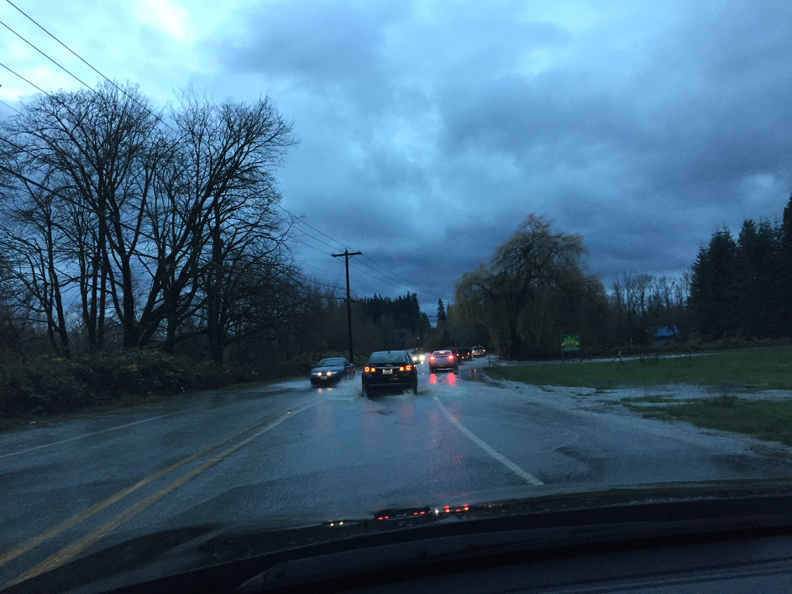 Water from the Stillaguamish River floods over SR-530 near Arlington. (City of Arlington Photo)<p></p>