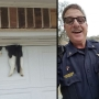 Deputy rescues cat after it gets stuck in garage door