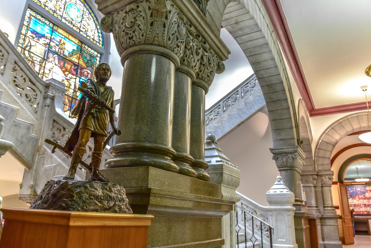 A statue of Cincinnatus holding a fasces faces City Council Chambers on the third floor of City Hall. / Image: Phil Armstrong, Cincinnati Refined // Published: 1.20.17