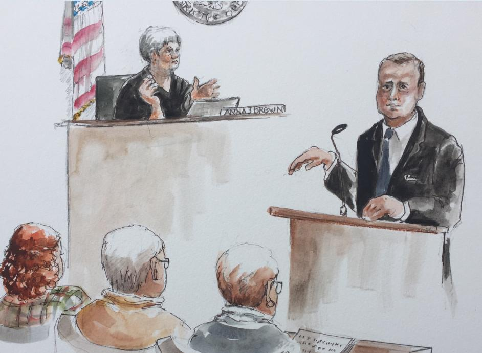 Ammon Bundy's lawyer during closing arguments on Oct. 18 (Sketch by Deborah Marble)