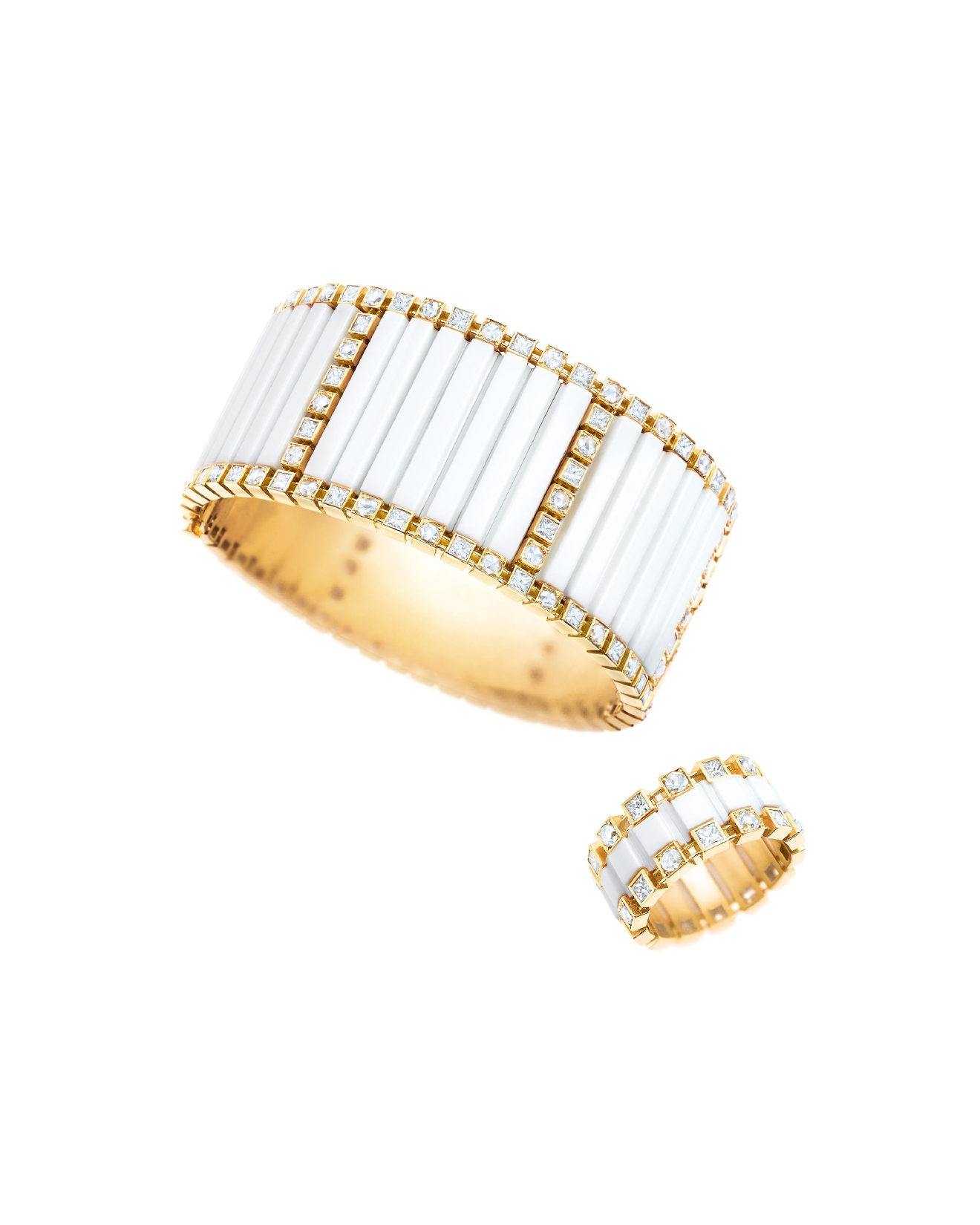 Tiffany white agate bracelet ($85,000) and square ring with diamonds in 18k yellow gold, $20,000,  Tiffany & Co., 8045 Leesburg Pike, Vienna, VA (Image: Courtesy Tiffany & Co.)