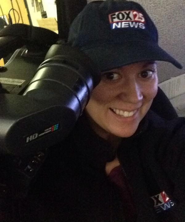 FOX 25 photojournalist Jamie snaps a selfie with her camera on her camera.