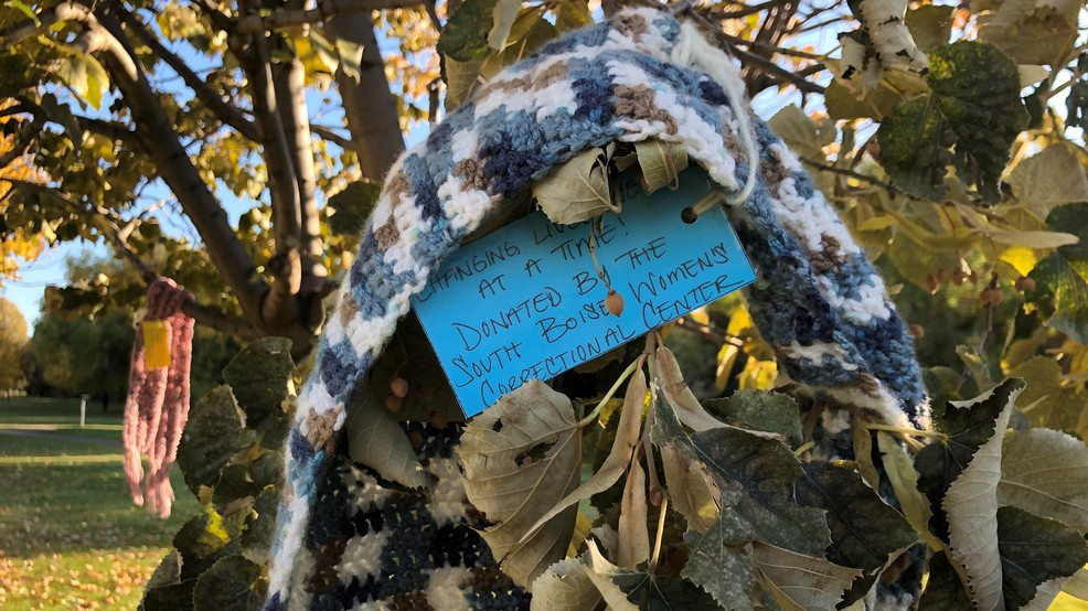 Scarves hang from trees at Ann Morrison, donated by Boise women's prison