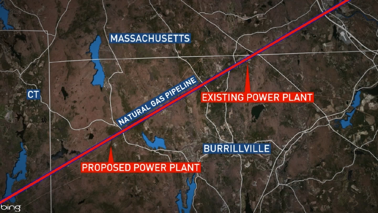 A map showing the location of the existing Ocean State Power plant and the proposed Invenergy plant. (WJAR)