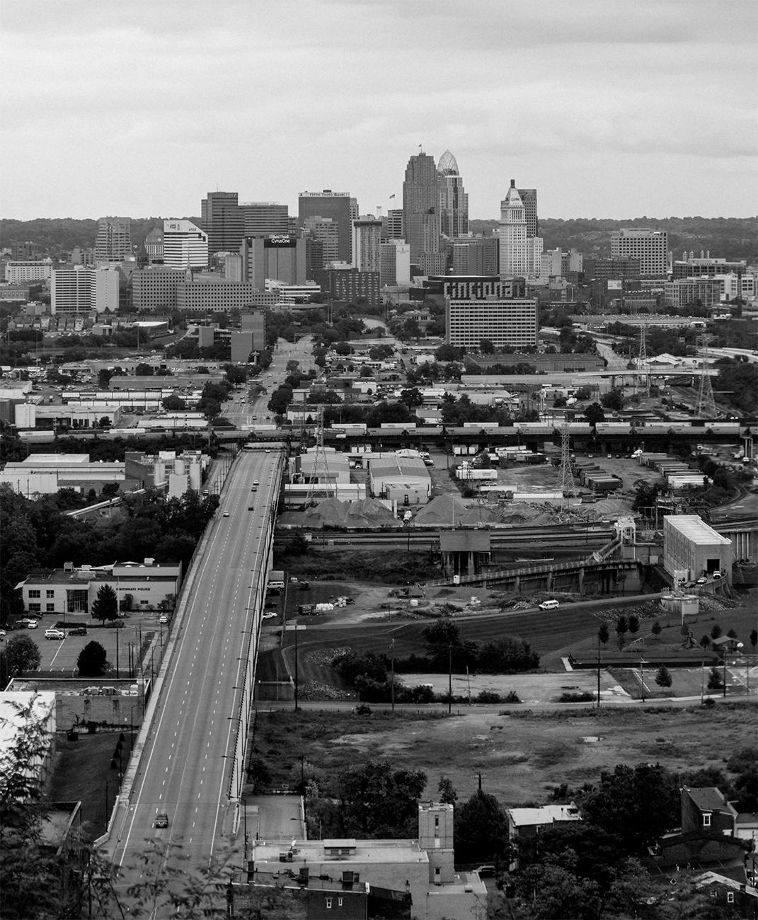 Closeup detail of a panoramic photo of Cincinnati looking east from Price Hill by Chris Glass from 2018. View the whole image by going to the Public Library downtown and seeing the Panorama of Progress exhibit. The exhibit runs until October 31. ADDRESS: 800 Vine Street (45202) / Image courtesy of the Public Library of Cincinnati // Published: 10.4.18