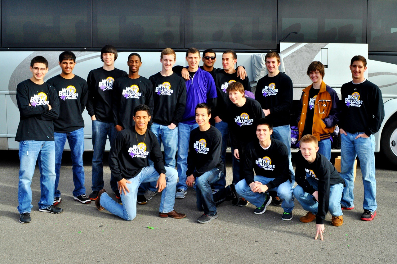 Wylie players gathered in front of a charter bus before leaving for Austin to compete in the state basketball tournament.Team members include: (front row) Kentrell Key, Josh Rhodes, Hunter Hererra, and Seth Hymer; (middle) Trey Myers; and (back row) Mike Lopez, Ahbilash Moolupuri, Tyler Hicks, Daron Davis, Christian Nichols, Josh Davila, Deandre Key, Duane Hopper, Sterling Bristow, Caleb Perkins and Patrick Walker.Photo courtesy of Kerr Broadstreet/WylieSports.com