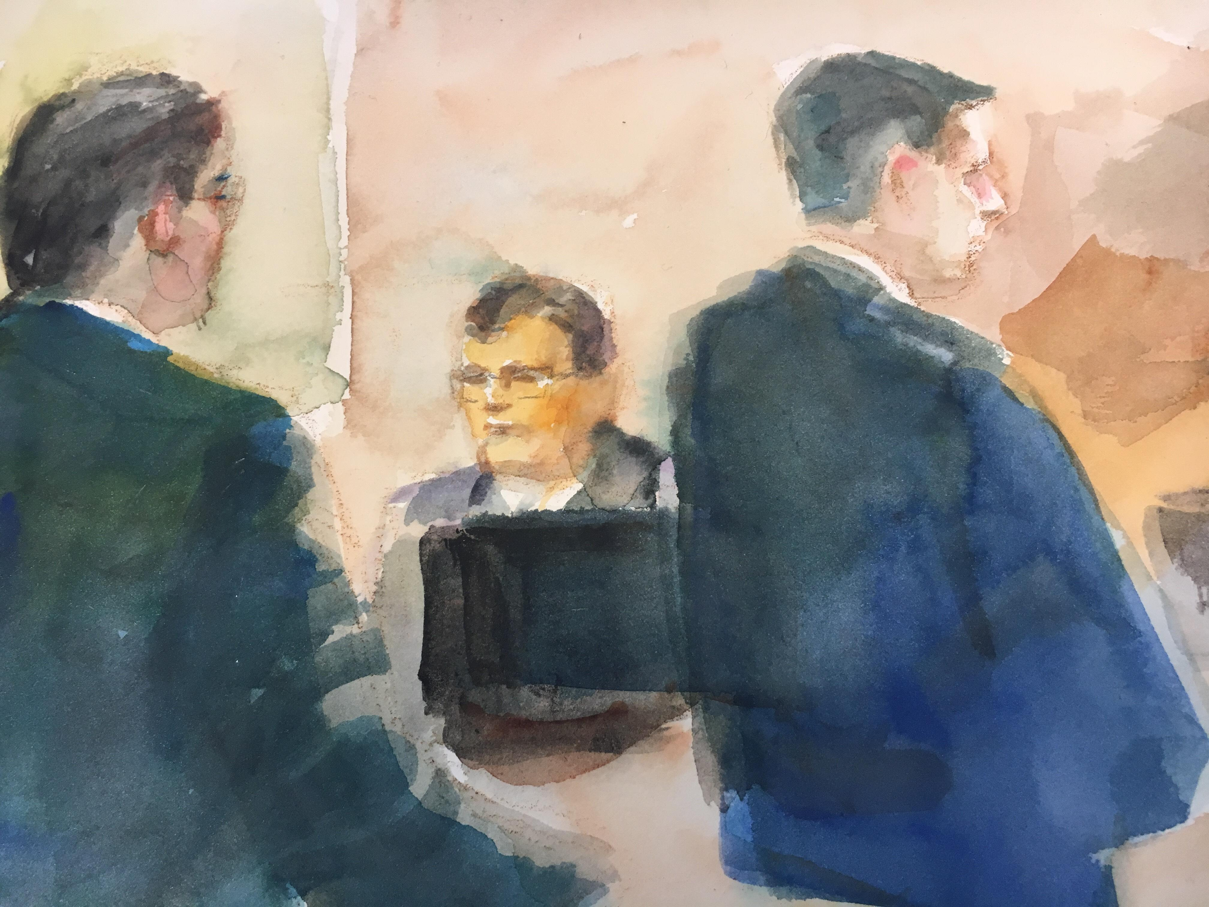 A sketch of the courtroom on the seventh day of Betty Shelby's manslaughter trial. (Courtesy of Evelyn Petroski)
