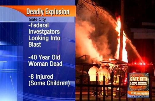 An early-morning explosion ripped through an apartment building in Gate City Tuesday, December 17, 2013, killing a Birmingham woman and injuring several others.