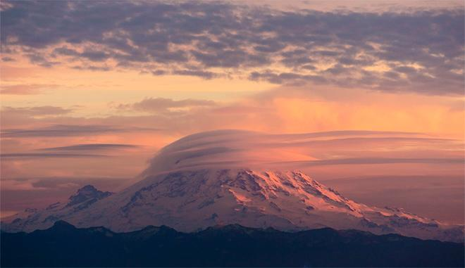 Sunset + Mt Rainier -- (Photo: YouNews contributor: jenburke)