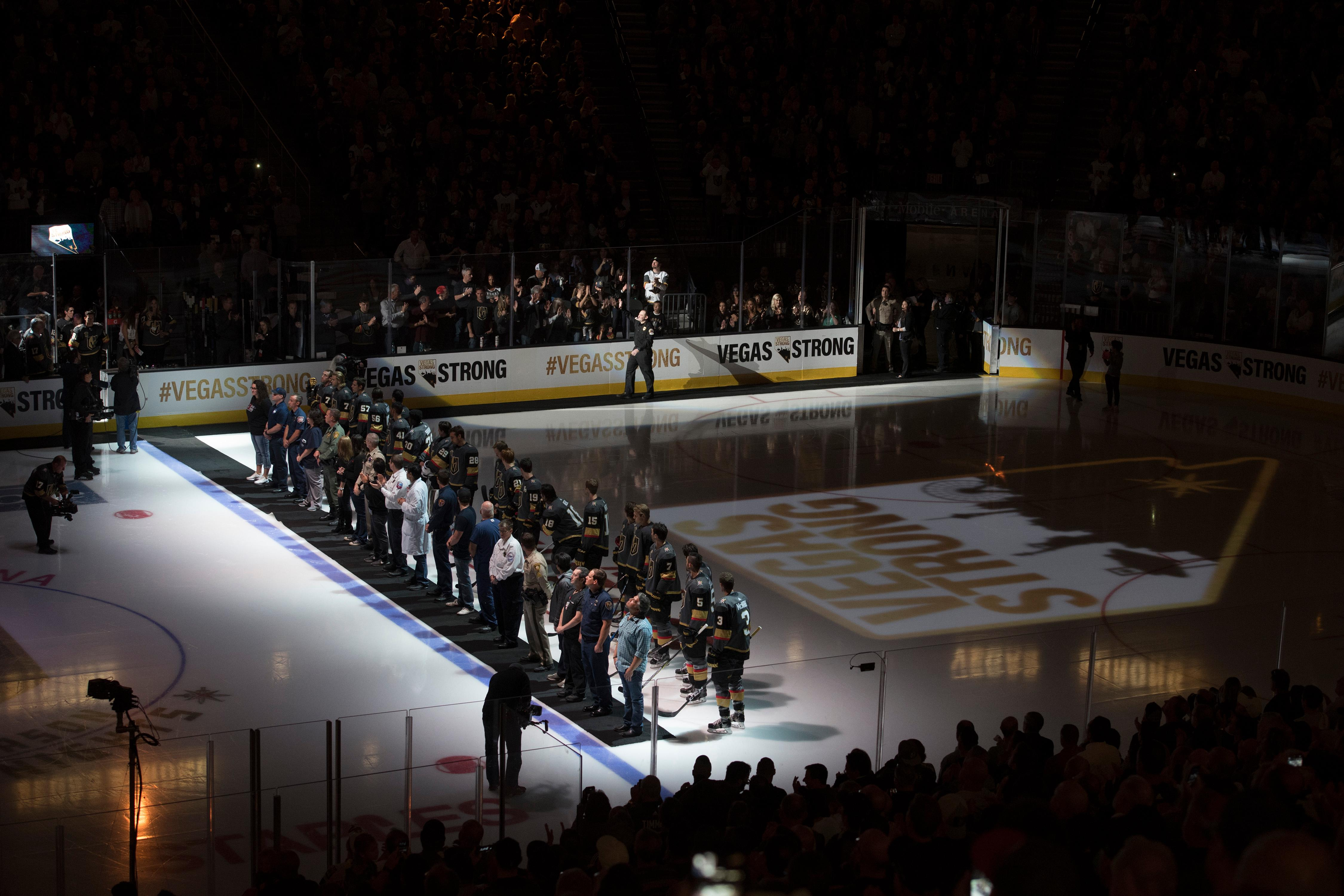 First responders and medical personnel involved in the October 1st tragedy are introduced and escorted by the Vegas Golden Knights before the Knights home opener against the Arizona Coyotes Tuesday, Oct. 10, 2017, at the T-Mobile Arena. The Knights won 5-2 to extend their winning streak to 3-0. CREDIT: Sam Morris/Las Vegas News Bureau