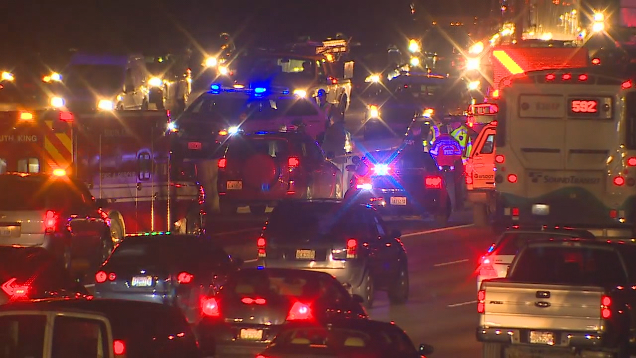 A man was shot and killed in road rage incident on I-5 near Milton Thursday, Feb. 8, 2018. (KOMO News/Air 4)