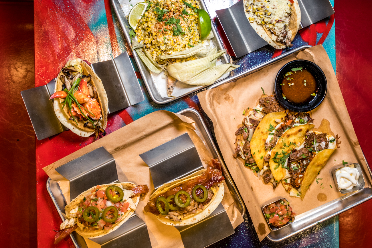 Their signatures tacos include classic toppings like chicken and beef, as well as an array of more out-of-the-box options such as butter-poached lobster, jalapeño spam, kangaroo, French fries, chicken & waffles, and much more. / Image: Catherine Viox // Published: 12.13.20
