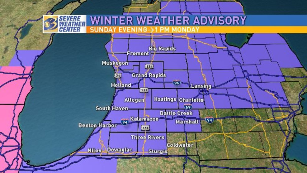 Grand Rapids Weather Map.Winter Weather Returns With Heavy Snowfall Expected During Morning