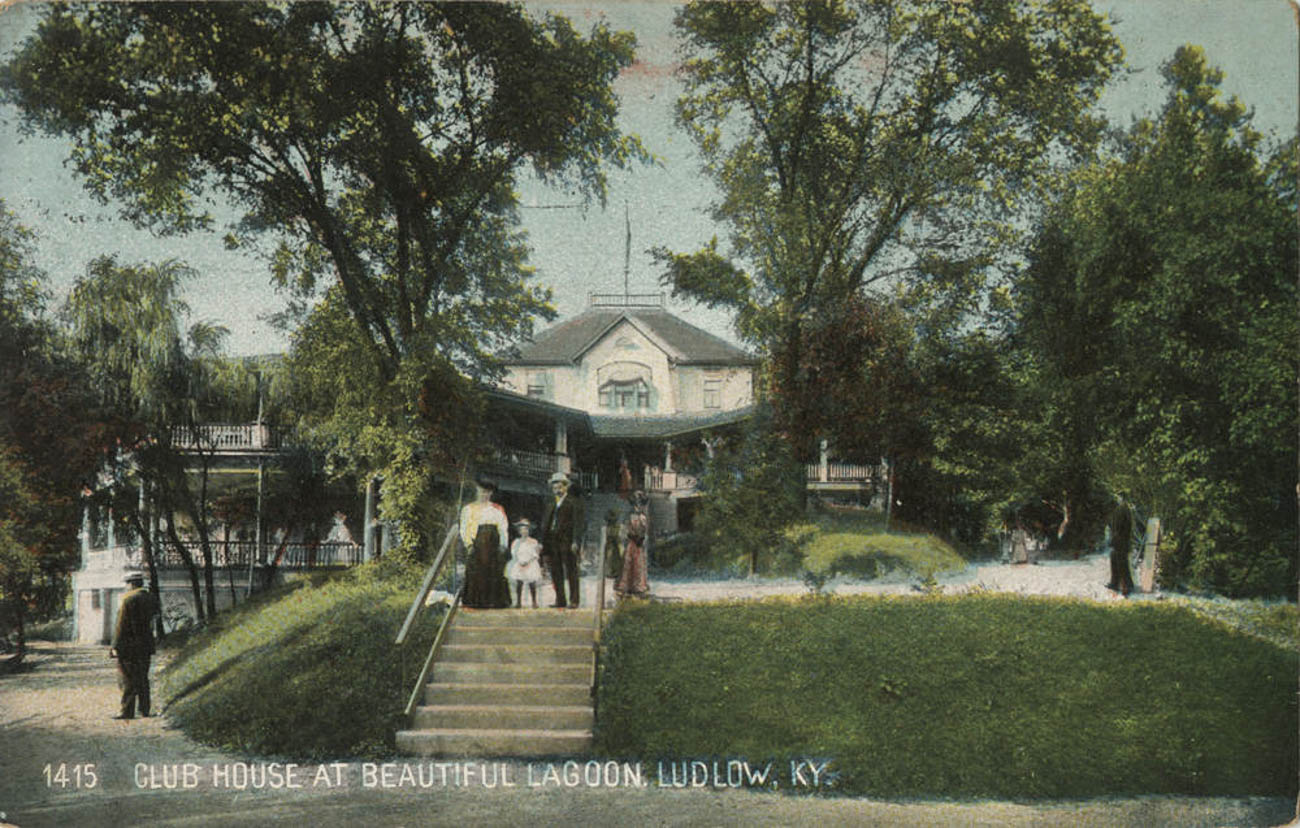 The Ludlow Lagoon Clubhouse served as the park's main gathering area. On its sweeping verandas, wealthy and distinguished guests—including President William Howard Taft one time—enjoyed dancing, fine dining, and exclusive views overlooking the park. Pictured is a postcard from 1908. / Image courtesy of the Paul F. Bien postcard collection via the Greater Cincinnati Memory Project of the Public Library of Cincinnati and Hamilton County. // Published: 6.5.19