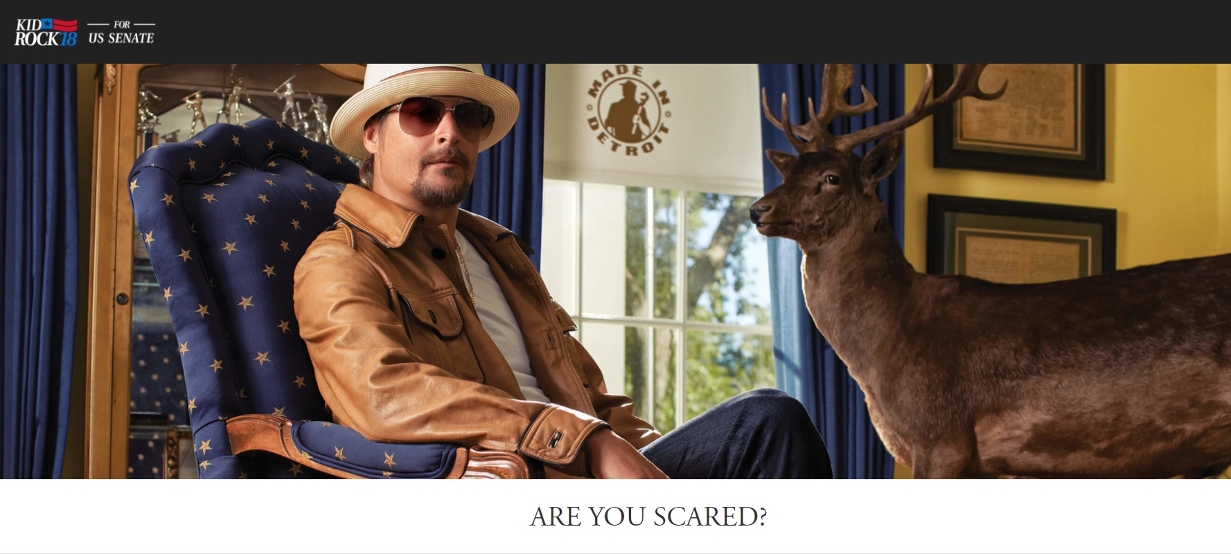 FILE image shows a screen-grab of Kid Rock's official 2018 campaign site. Kid Rock, formally Robert James Ritchie, announced he would run as a Republican for U.S. Senate to represent Michigan. (Photo credit: KidRockforSenate.com)