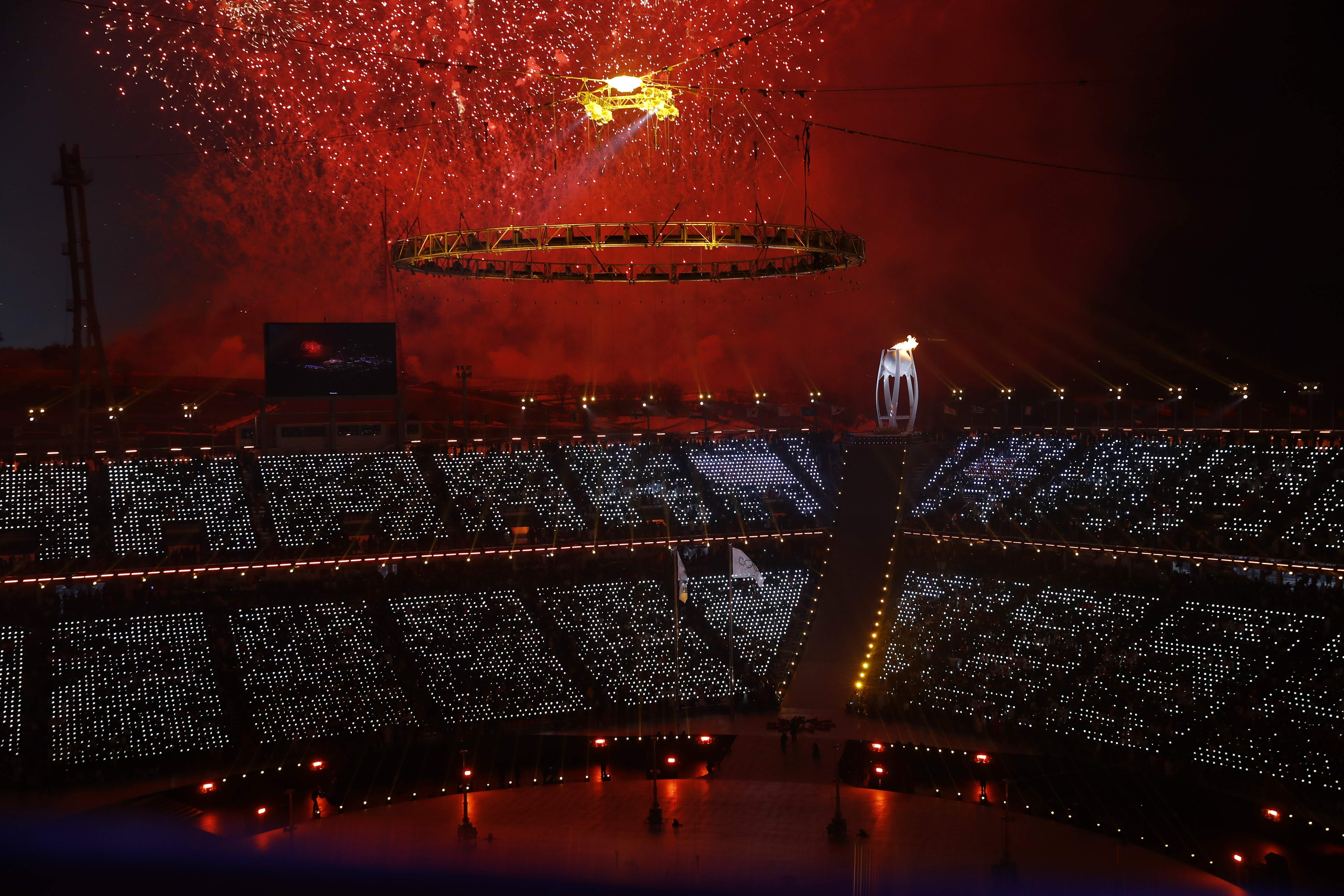 Flames burn in the Olympic cauldron during the opening ceremony of the 2018 Winter Olympics in Pyeongchang, South Korea, Friday, Feb. 9, 2018. (AP Photo/Charlie Riedel)