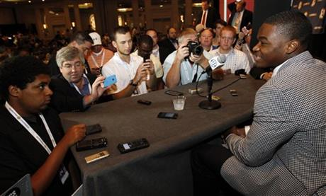 Alabama wide receiver Amari Cooper speaks to the media at the Southeastern Conference NCAA college football media days Thursday, July 17, 2014, in Hoover, Ala.