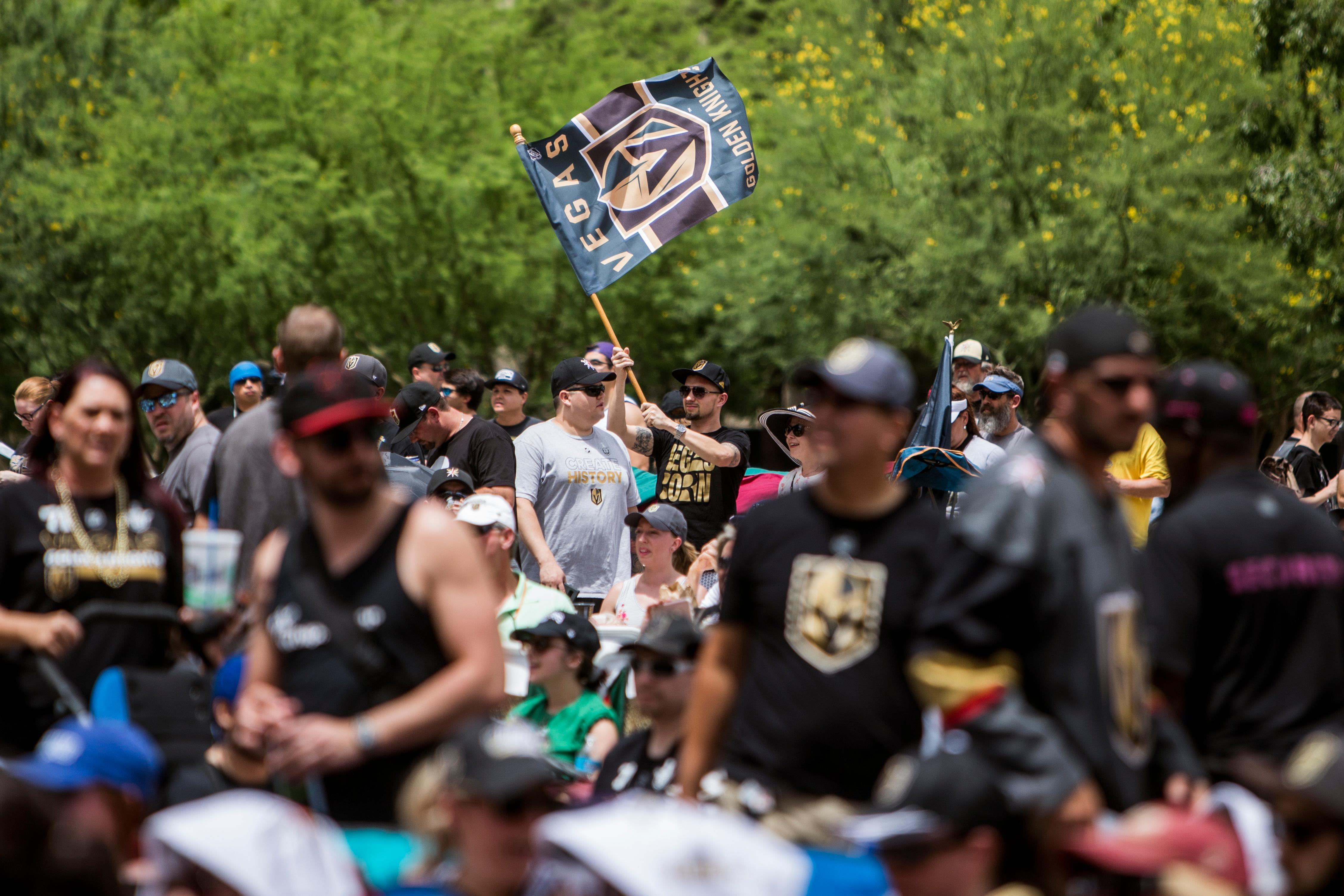 Vegas Golden Knights fans prepare for their team to take on the Winnipeg Jets during a Game 5 watch party Sunday May 20, 2018 at Toshiba Plaza outside T-Mobile Arena. The Golden Knights defeated the Winnipeg Jets, advancing to the Stanley Cup Final. CREDIT: Joe Buglewicz/Las Vegas News Bureau