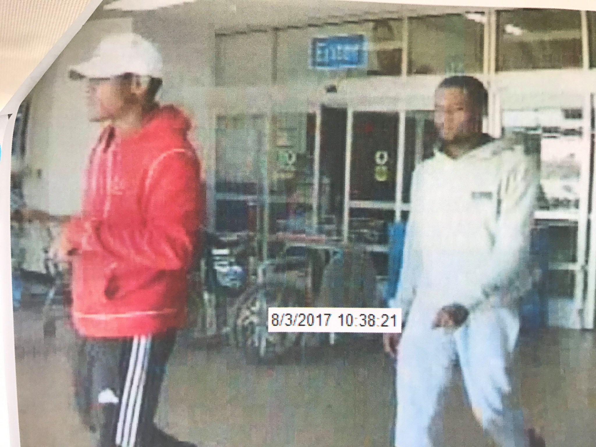 Surveillance video shows two men believed to be connected to an armed robbery August 3 at an Oklahoma City business. (Oklahoma City Police Department)