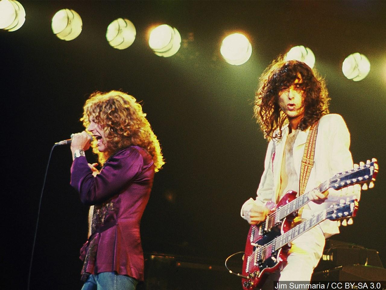 Robert Plant and Jimmy Page from Led Zeppelin, 1977. (Photo credit:{ }Jim Summaria / CC BY-SA 3.0 via MGN online)