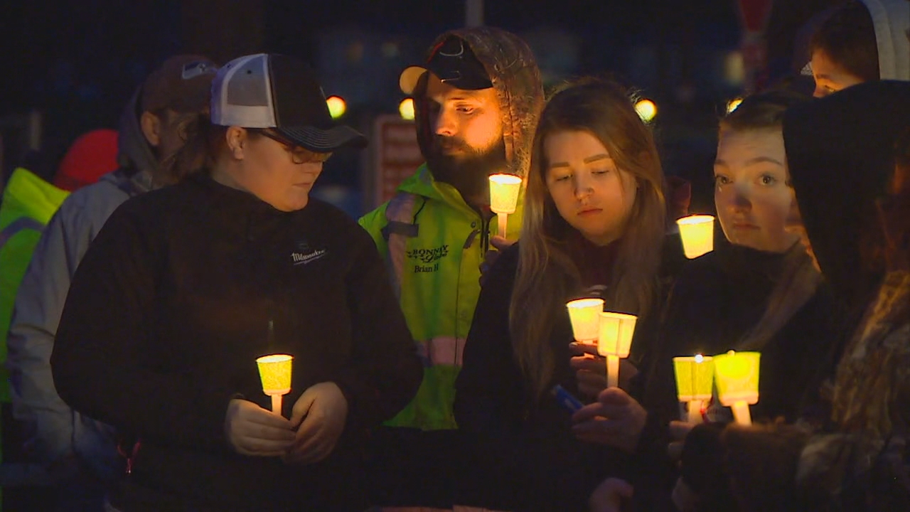 A candlelight vigil was held in Bonney Lake Thursday night, March 8, 2018, to remember James Larsen and Zach Roundtree who were killed in an avalanche near Cle Elum over the weekend.{ }