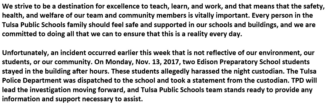 Tulsa Public Schools statement on janitor's sexual assault by teenage suspects (KTUL)<p></p>