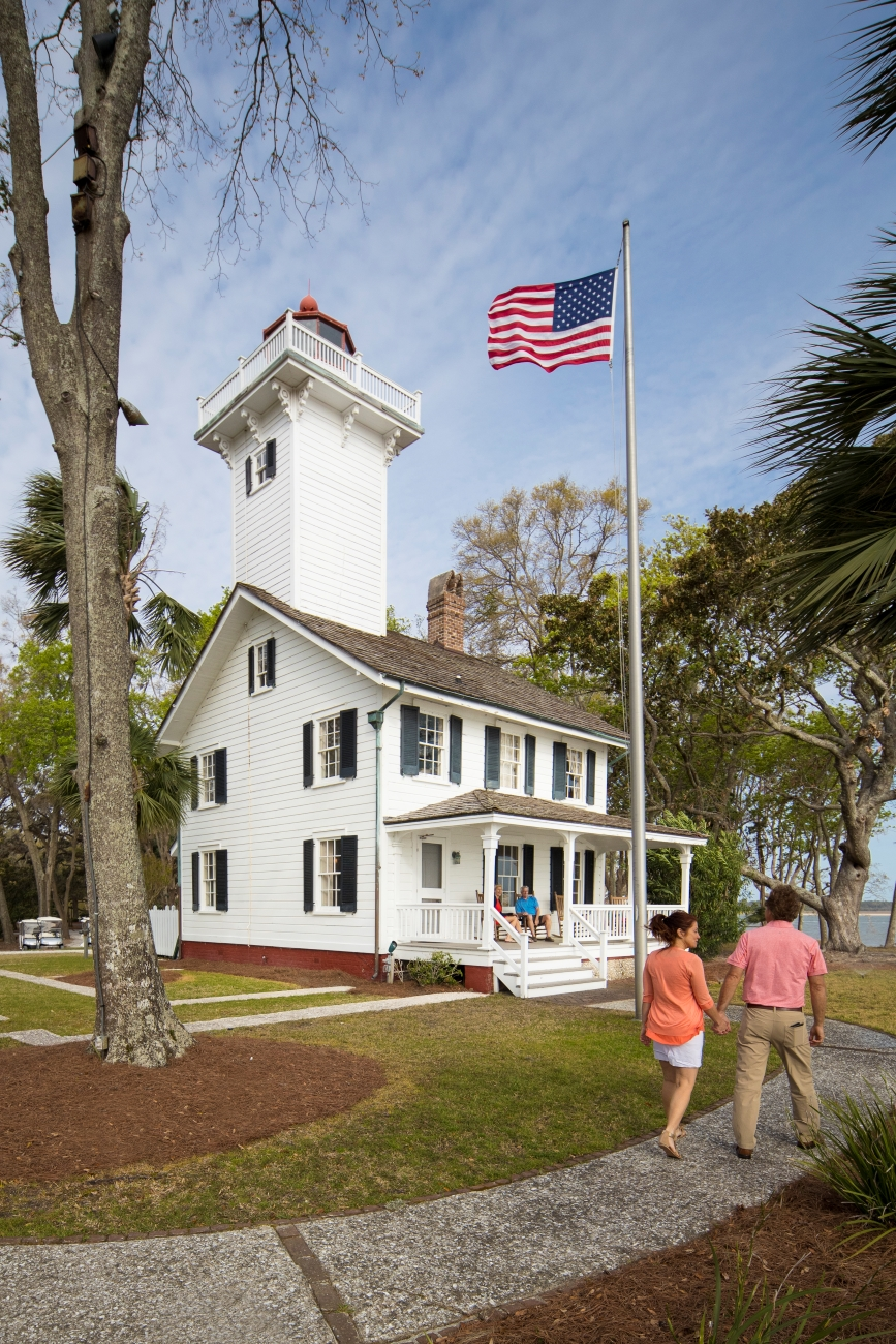 Ever slept in a lighthouse? Here's your chance. The 1873 Lighthouse at Haig Point features a 40-foot tower, a luxurious fireplace, clawfoot bathtub, and a rocking chair-lined porch with stunning views of the Calibogue Sound. Private homes are also available for rent within Haig Point. / Image courtesy of Haig Point // Published: 6.24.20