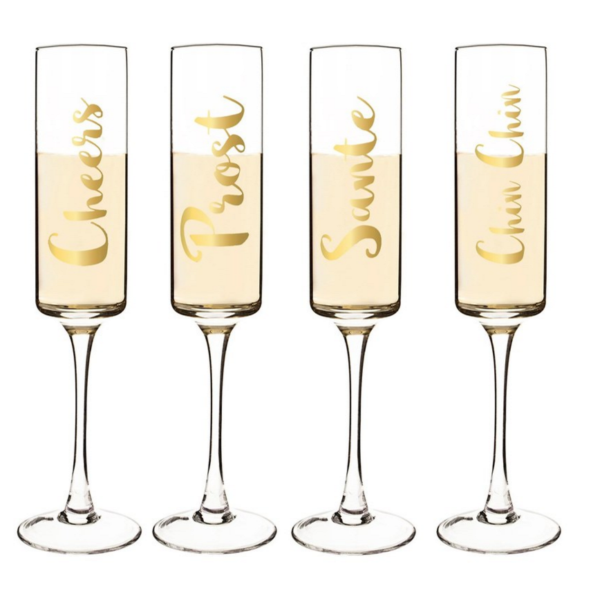 CATHY'S CONCEPTS 'Cheers' Champagne Flutes ($58.00). Find on nordstrom.com. (Image: Nordstrom)
