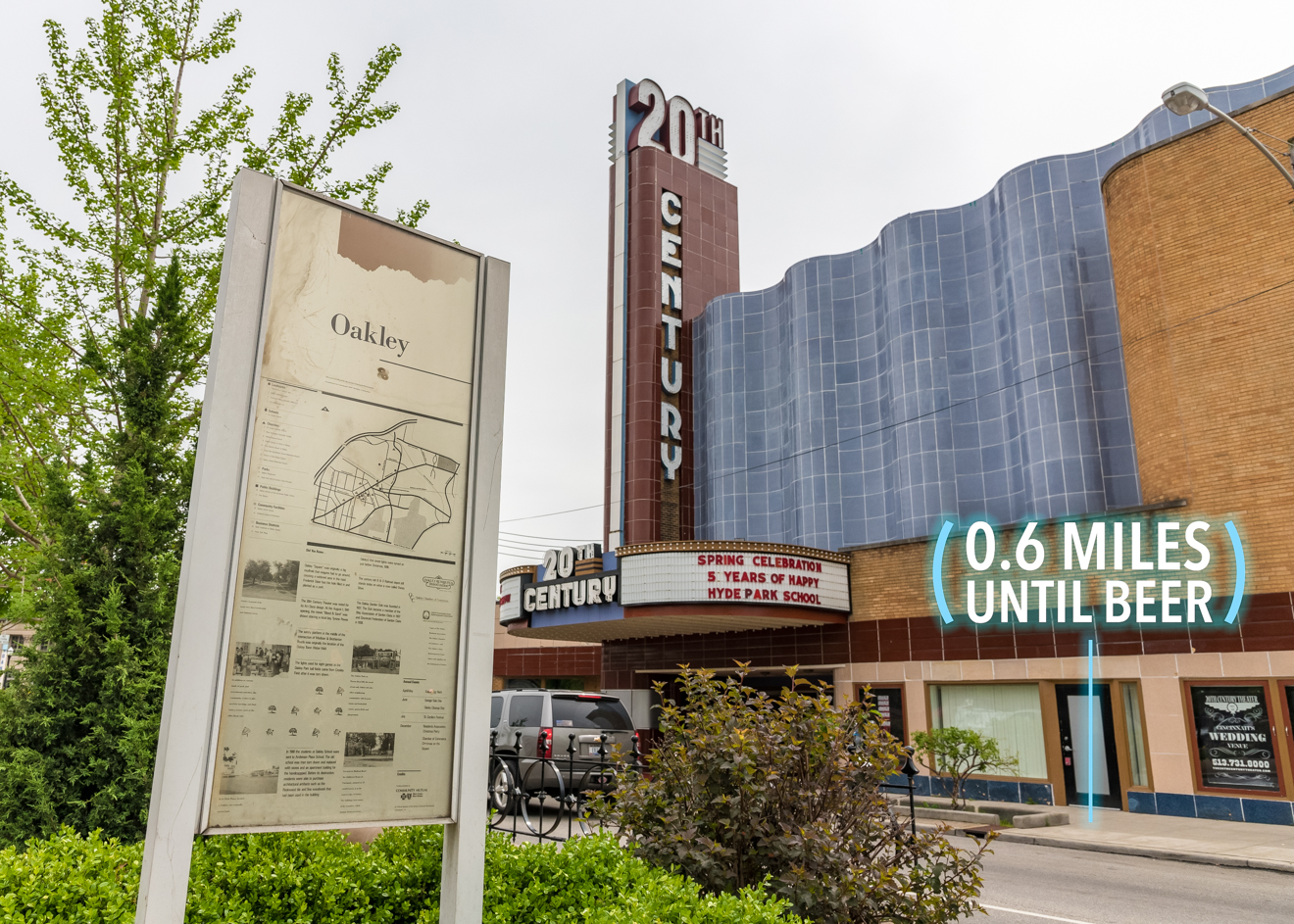 Continue on Madison Road into Oakley Square. The Geier Esplanade and 20th Century Theater are recognizable landmarks. / Image: Phil Armstrong, Cincinnati Refined // Published: 4.25.17