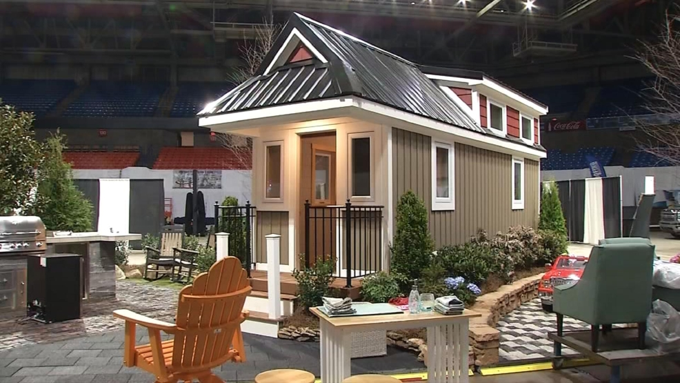 Inside a tiny home display at wv home show wchs