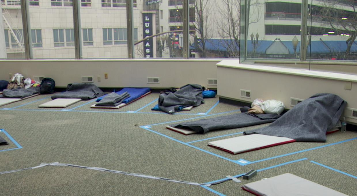 The temporary homeless shelter at Washington Center Office Building