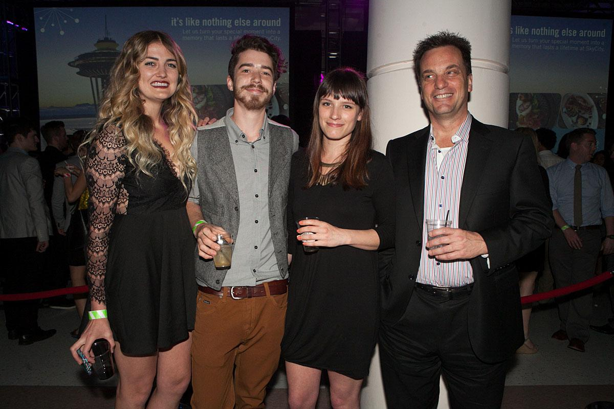 Kit, Kobi, Riley and Tim party the night in McCaw Hall at the SIFF Opening Night Gala. (Image: Joshua Lewis / Seattle Refined)
