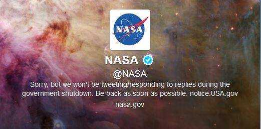On Tuesday morning, NASA posted a tweet and then changed it's profile to reflect that it will be not be tweeting or responding.
