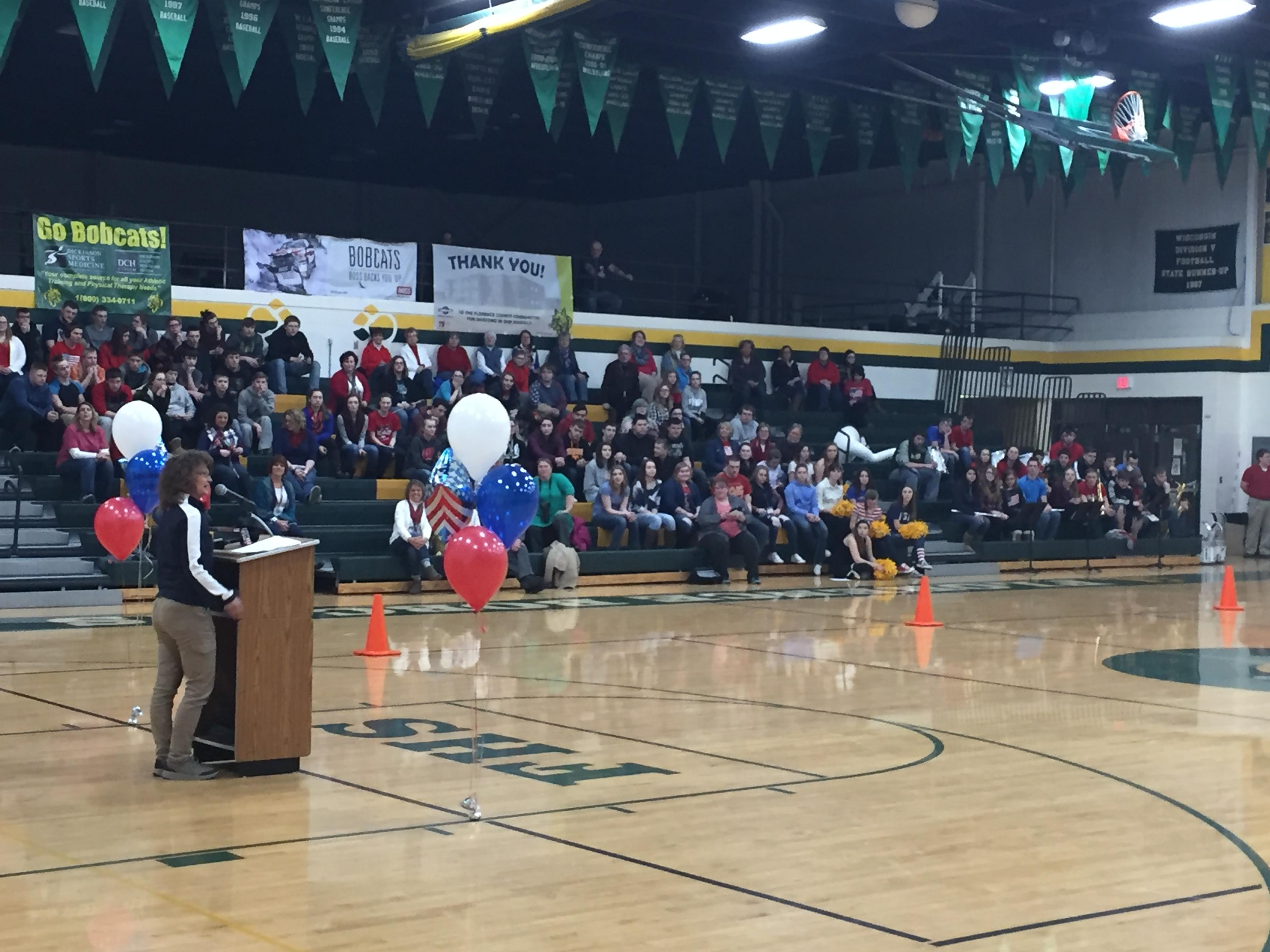 Florence held a pep rally at school for alum, Nita Englund, who will be making her first trip to the Olympics in South Korea as a ski jumper, February{&amp;nbsp;} 7, 2018. (WLUK)<p></p>