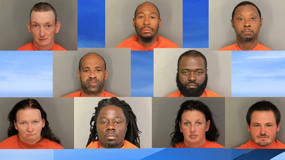The Lake City Police Department and Florence County Sheriff's Office have arrested nine people on drug charges after a bust. (FCSO photos. WPDE background)<p></p>