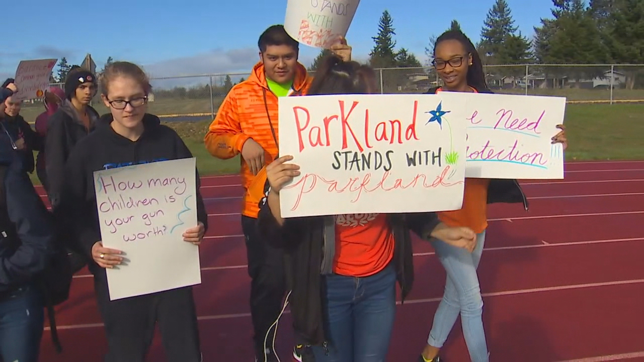 Students at Washington High School in Parkland, Washington, took part in the national walkout on Wednesday, March 14, 2108. They students felt a connections since a shooting at a high school in Parkland, Florida, prompted the walkout. (Photo: KOMO News)