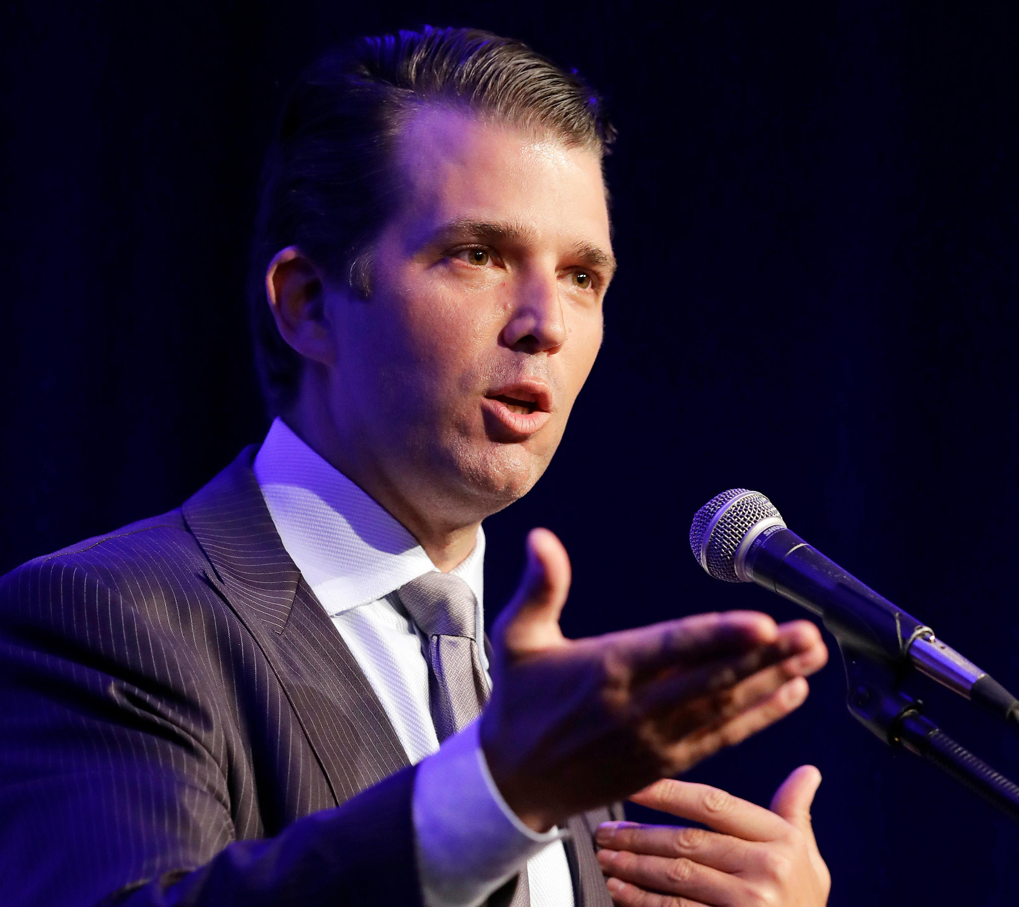 FILE - In this May 8, 2017 file photo, Donald Trump Jr. speaks in Indianapolis. President Donald Trump's eldest son acknowledged Monday, July 10, 2017, that he met a Russian lawyer during the 2016 presidential campaign to hear information about his father's Democratic opponent, Hillary Clinton. (AP Photo/Darron Cummings, File)