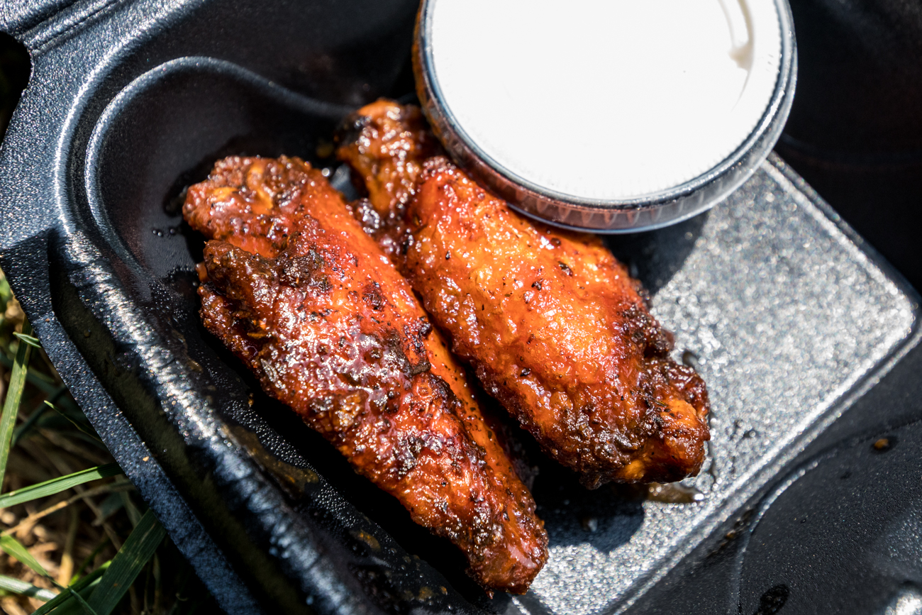 Two honey barbecue wings with ranch from Revolution Rotisserie / Image: Catherine Viox{ }// Published: 9.26.20