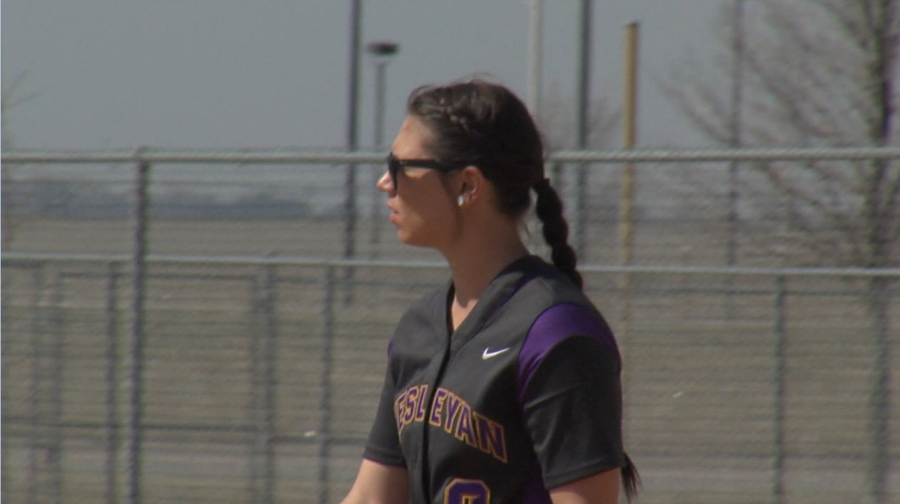 Kansas Wesleyan pitcher Kylie Ross steps into the circle at Smith Softball Complex in Hastings, March 19, 2017 (NTV News)