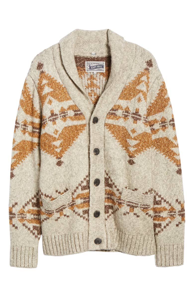 Schott NYC Geo Pattern Cardigan, $160.{ }The men in our lives work hard! Gift them something they'll feel appreciated in this holiday season! (Image courtesy of Nordstrom).