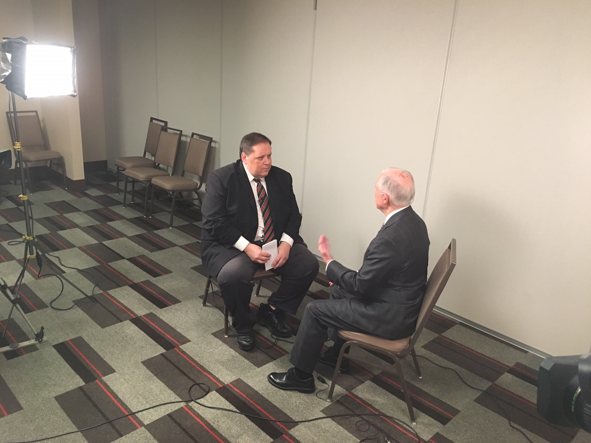 Eyewitness News Reporter Kennie Bass talks with U.S. Attorney General Jeff Sessions about efforts to battle the opioid epidemic. (Eyewitness News)