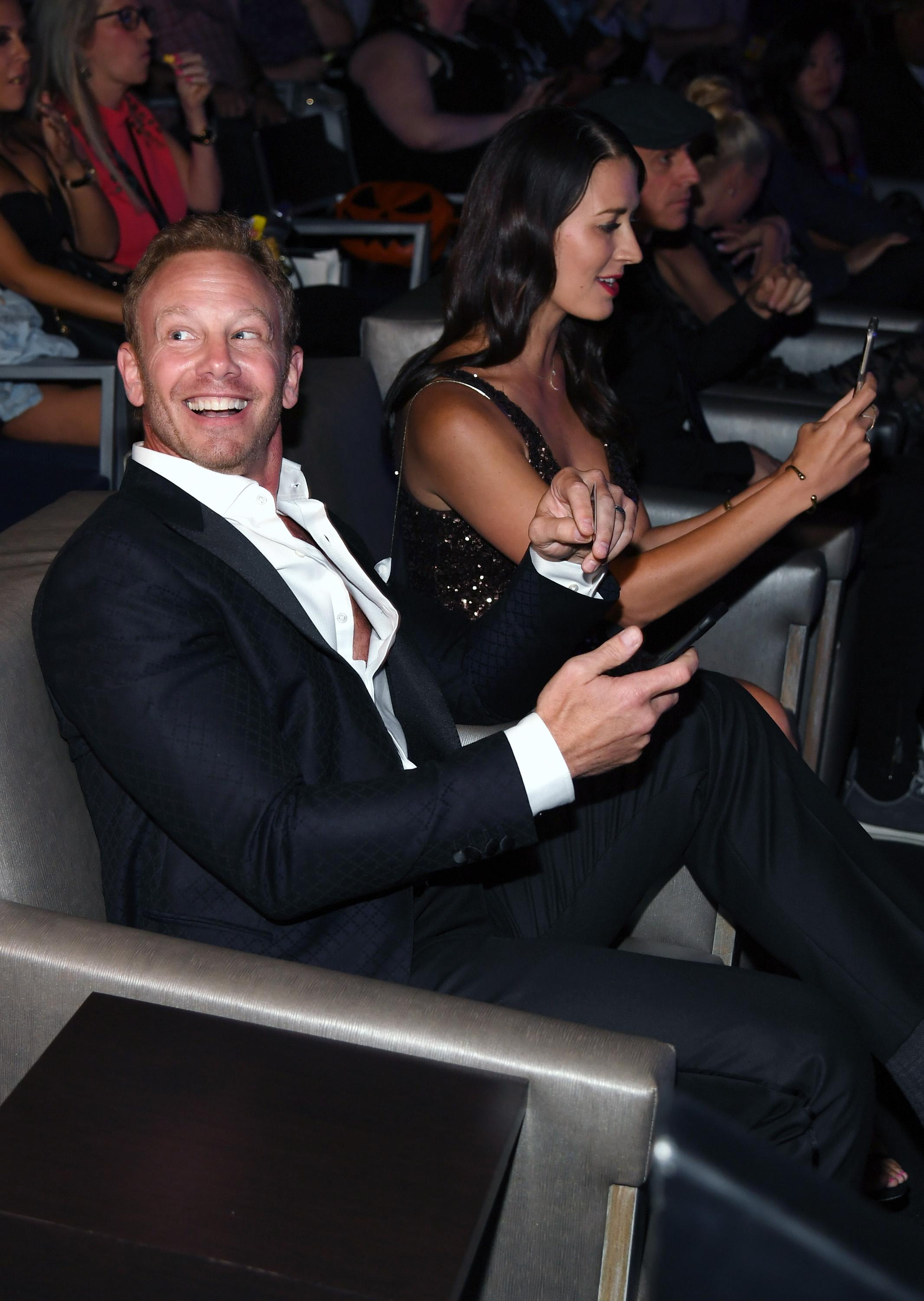 "LAS VEGAS, NV - AUGUST 06:  Actor Ian Ziering (L) and his wife Erin Kristine Ludwig attend the premiere of ""Sharknado 5: Global Swarming"" at The LINQ Hotel & Casino on August 6, 2017 in Las Vegas, Nevada.  (Photo by Ethan Miller/Getty Images for Caesars Entertainment )"